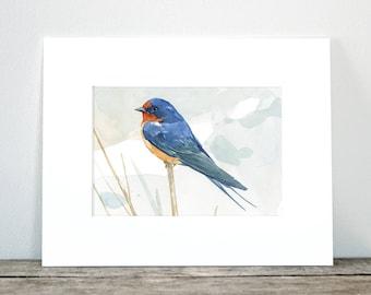 Rustic Bird Art, Barn swallow print, watercolor painting, 5x7