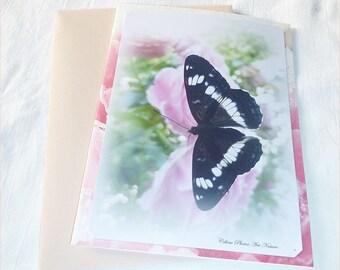 """Carte double """"Des Roses,un Papillon...""""réalisée à partir de photos de Céline  Art Nature"""