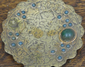 antique etcheched brass easten pin tray dish plate