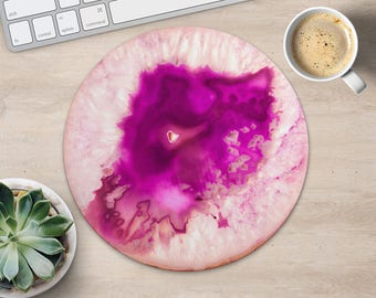 Pink Mouse Pad Stylish Mouse Mat Agate MousePad Round MouseMat Fashion MousePad Woman Mouse Mat Desk Office Gift for Her Fabric MousePad
