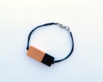 Black rectangle bracelet wood (beech) hand painted - stainless steel clip - acrylic paint - Wood of Canada