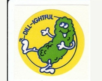 SALE Vintage Trend Matte Scratch and Sniff Dill Pickle Sticker - 80's Dill-ightful