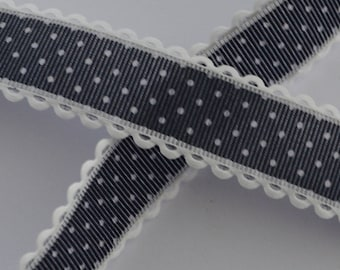 1 m black dotted Ribbon white 25mm wide lace