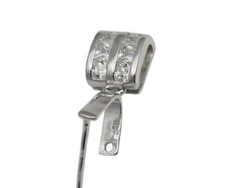Sterling Silver Bail Connector Metal Pinch Clip with CZ Diamond Jewelry Findings Wholesale   ID 34622