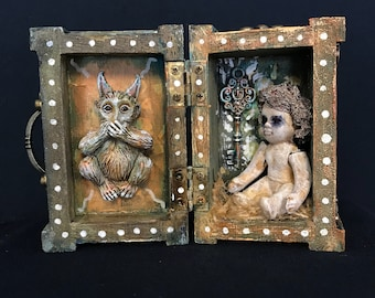 Speak No Evil -OOAK tiny trunk /treasure box, found object, art doll, mixed media, assemblage