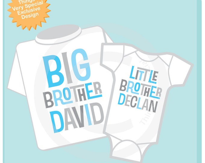 Matching Big Brother Little Brother Shirt set of 2, Sibling Shirt, Personalized Tshirt with Light Blue and Grey Letters (08302013a)