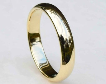Gold Wedding Band, 4mm Wedding Band, 14kt Yellow Gold, 14kt White Gold