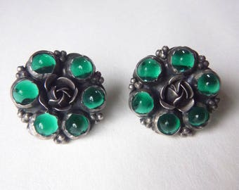 Art Nouveau sterling earrings with dark green cabonchon glass stones screw back non-pierced