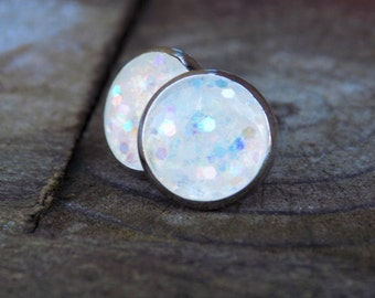 White Snowglobe Glitter Stud Earrings - jewelry posts, accessories, women, gifts for her, sparkle