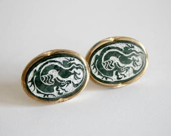 Carved Granite Dragon Cuff Links