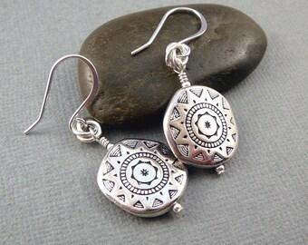 Sunflower Earrings, Southwest Jewelry, Sun Jewelry, Cool Earrings, Western Jewelry, Silver Dangle Earrings, French Wire Earrings
