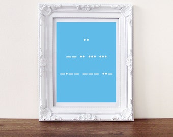 I Miss You print, secret message morse code ( custom message available)