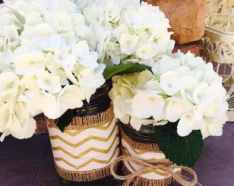 Mason Jar Wrap, Gold Chevron, Tribal Print, Mason Jar Decoration, Baby Shower, Party, Wedding Decoration