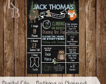 Forest Theme - Birthday Chalkboard Poster - Customized Printable Birthday Board - Woodland Birthday, Fall Birthday