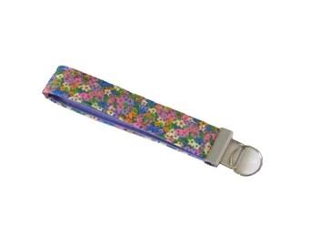 Floral Keychain, Purple Key Fob, Handmade Key Chain Wristlet, Wrist Lanyard, Key Lanyard, Fabric Key Holder