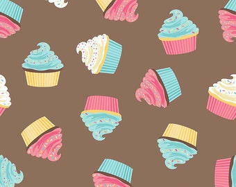 SALE Novelty Cupcakes Brown by Riley Blake Designs - Treats Dessert Food Frosting - Quilting Cotton Fabric - choose your cut
