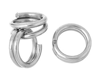 15 rings 5 mm double round stainless steel.
