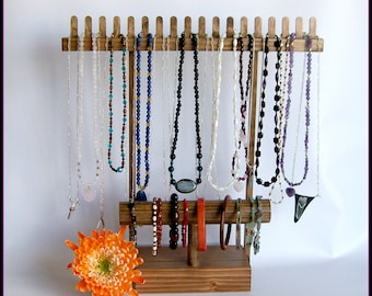 Jewelry Organizer - Necklace Holder, Bracelet Display, Holds Anklets and Watches, Wood Stained