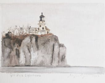 Split Rock Lighthouse original painting on archival paper, framed