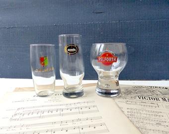 Vintage Bistro glasses 3 beer Bar advertising item SLAVIA Pelforth Colmar decor