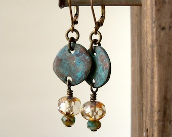 Patina Earrings - Dangle Earrings - Hypoallergenic - Boho Earrings - Boho Jewelry - Statement Earrings - Bohemian Earrings - Bead Earrings