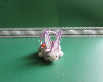 Miniature Easter Basket-Purple Easter Filled with goodies, Basket-Bunny Easter Basket