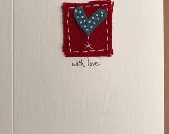 Hand-made Felt Heart Love Card