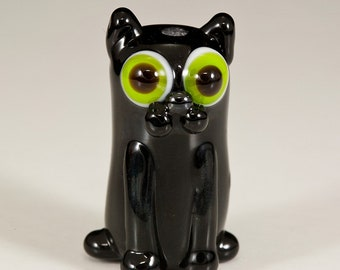 Black Cat Lampwork Glass Bead