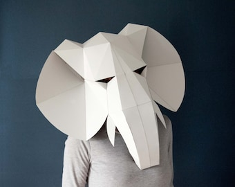 Elephant full face mask, digital download, papercraft 3d, eco friendly animal mask, elephant baby shower, festival clothing, elephant decor