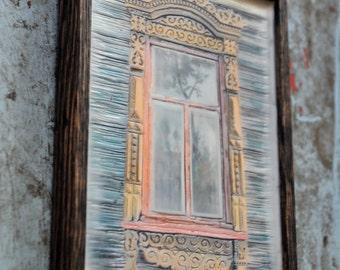 Russian decorative dacha window. Original Encaustic Photography. Rostov, Russia. Rustic. Mustard, red.Framed 5x7