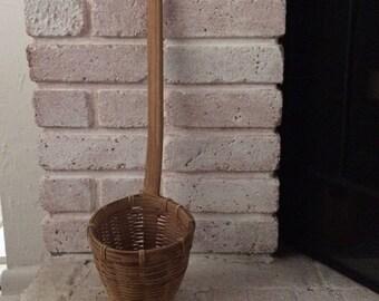 Primitive Wall Basket, Vintage Wicker Storage Basket, Long Handle Basket, Farmhouse decor