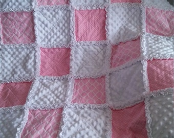 """Shabby Chic - Baby Rag Quilt - 36""""x46"""" Crib Quilt, Pink and White Cotton print - Flannel -  Minky - Cottage style"""