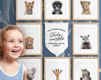Safari nursery, Baby animal nursery art, PRINTABLE art, African & Asian animals, Safari animals, Safari animal prints,  Nursery wall decor