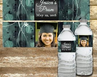 Water Bottle Label - Graduation Water Bottle Label, Black and Silver, Water Bottle Label, Personalized Water Bottle, Prom Water Bottle Label