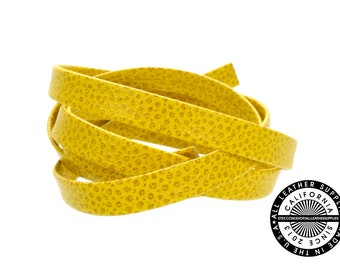 """Genuine Leather Strap, Folded Yellow Leopard Print, 6mm (1/4"""" inch) 3 yards (108"""" inches)  (1715)"""