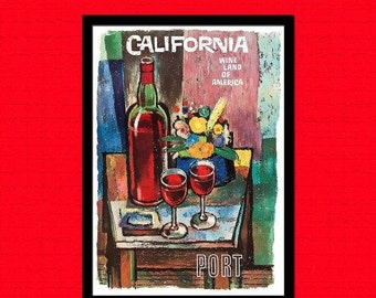 California Wine 1960 Poster Print - Vintage Wine Poster Kitchen Poster Art Reproduction Home Decor Kitchen Art Food Poster Gi Reproduction