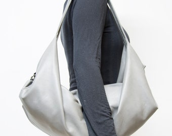 Grey leather shoulder bag - Soft grey hobo bag - Grey leather purse - Slouchy handbags -  DeLuna bag