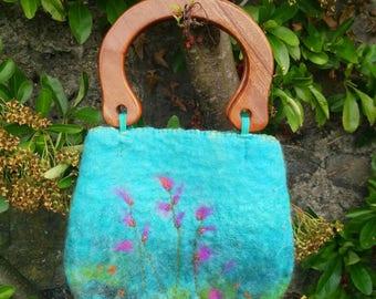 Hand felted bag/ felt handbag/ fibre art handbag/ small felted bag/ floral bag