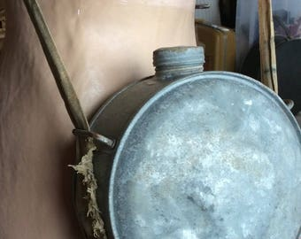 OLD SHABBY CANTEEN, vintage metal water tote, military style, festival, burning man, mancave, scratch and dent