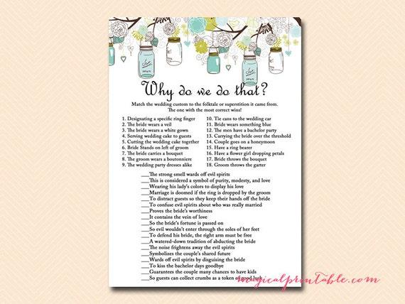 Why Do We Do That Wedding Tradition Quiz Mason Jars Bridal Shower Game Printables Rustic Bridal Shower Games Wedding Shower Bs
