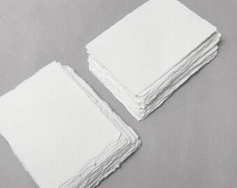 "4.1"" x 5.8"" (A6) Ivory, 210gsm Handmade Deckle Edge Cotton Rag Paper // Deckle Edge Paper, Cotton Paper, Invitation Paper, Fine Art Wedding"
