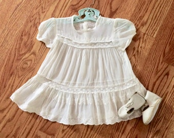 Sheer baby dress, white, vintage, late 40's, 12 - 18 months