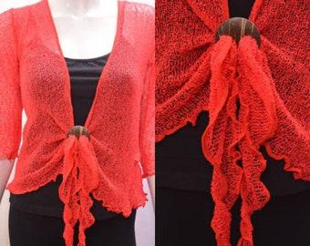 Boho chic crochet style knit shrug cardigan Red onesize 10 12 14 16 18 20