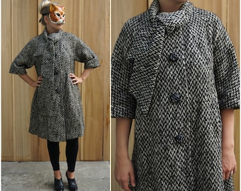 Vintage 60's Black and White Aline Wool Swing Coat with Ascot by Dumas   Medium