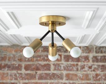 Geometric Metal Lamp - Ceiling Light Gold - Minimalist Lamp - Industrial Ceiling Fixture - Accent Light - Flush Mount