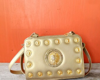 vintage Greek key & Medusa purse . Medusa head shoulder bag . Bags by Marlo . 1990s gold purse, metallic purse