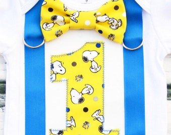 Baby Boy Snoopy  Peanut Charlie Brown themed first birthday onesie Boy ONE year cake smash Boy first birthday Boy 1st birthday Charlie Brown