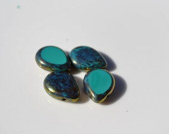 Turquoise and Bronze 16mm Czech Glass Briolette Beads   4
