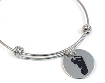 Footprint Bangle with Your Child's Actual Foot Print - Personalized Foot Print Bracelet - Actual Footprint - Stainless Steel