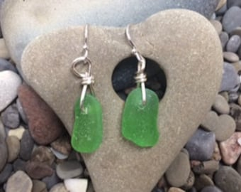 Found Lake Erie Green Beach Glass Drop Earrings